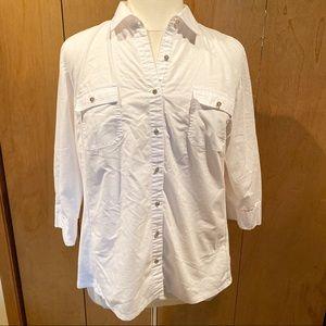 Sz 2X Laura Scott white dress shirt with stretch